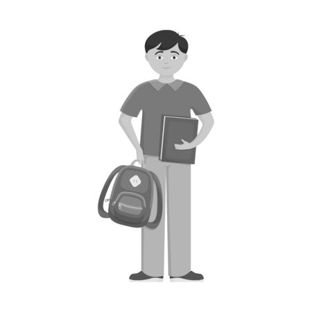 Isolated object of boy and baby  icon. Collection of boy and backpack vector icon for stock.
