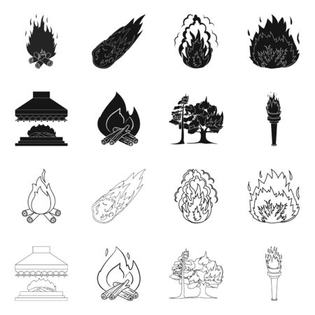 Vector design of fire and flame logo. Set of fire and fireball vector icon for stock. Foto de archivo - 124473859