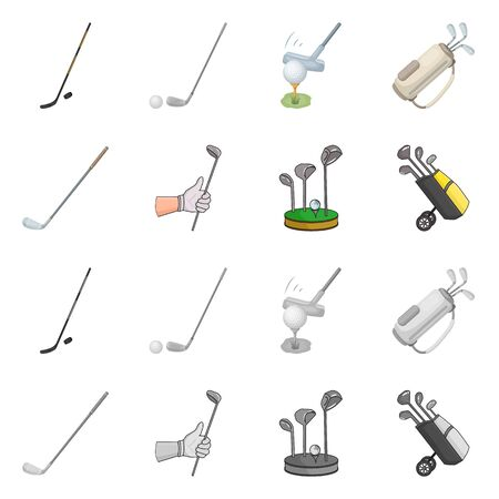 Isolated object of  and stick symbol. Collection of  and golf  stock vector illustration.