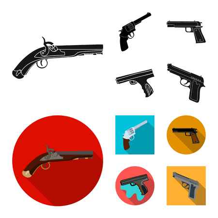Vector illustration of revolver and pistol logo. Collection of revolver and trigger stock symbol for web.