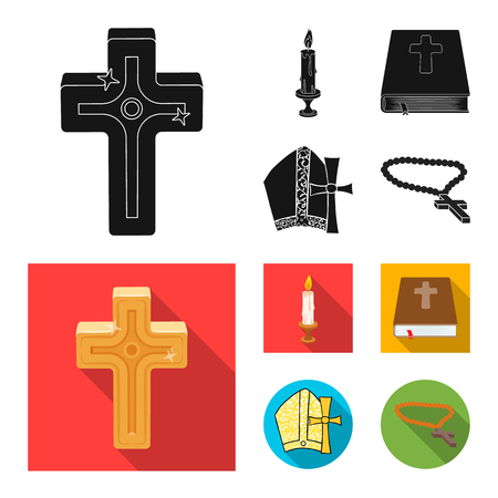Vector design of muslim and items icon. Set of muslim and candle vector icon for stock. Çizim