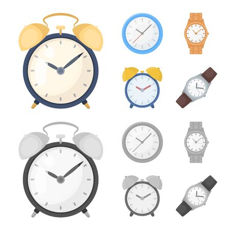Vector design of time and hour sign. Collection of time and business vector icon for stock.