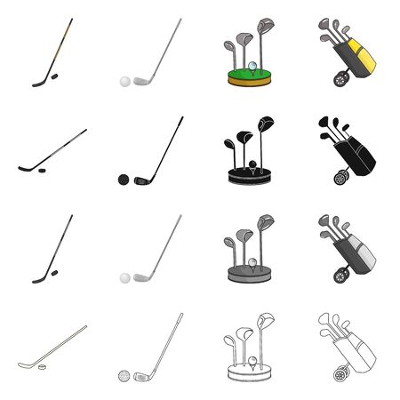 Vector design of  and stick icon. Collection of  and golf  vector icon for stock.