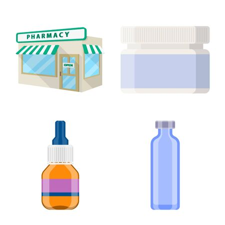 Isolated object of pharmacy and pharmaceutical icon. Collection of pharmacy and health vector icon for stock.