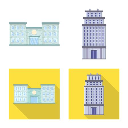 Isolated object of municipal and center icon. Set of municipal and estate   stock vector illustration. Illustration