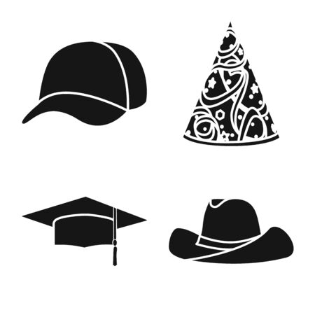 Vector design of beanie and beret icon. Collection of beanie and napper stock vector illustration.