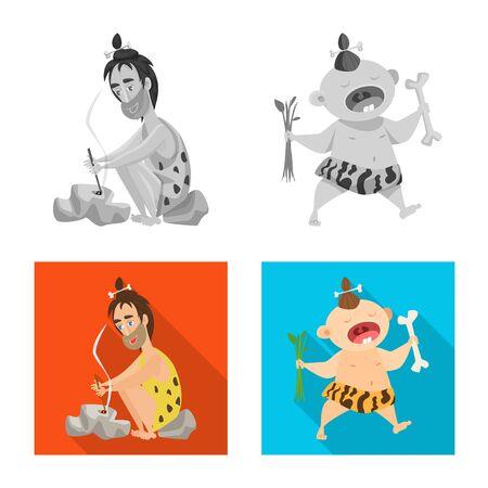 Ilustracja wektorowa logo ewolucji i prehistorii. Zestaw ewolucji i rozwoju symbol giełdowy dla sieci web.