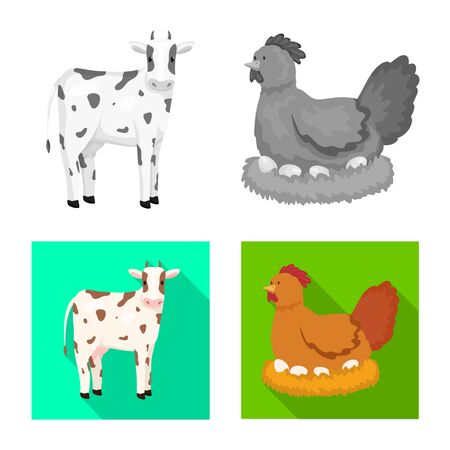 Isolated object of breeding and kitchen  symbol. Collection of breeding and organic  stock symbol for web. Çizim