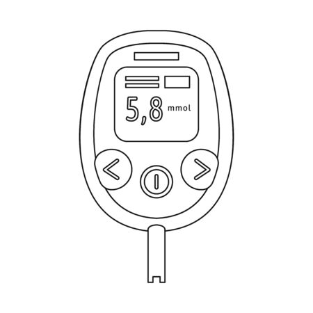 Isolated object of glucometer  and measuring logo. Collection of glucometer  and chronic vector icon for stock.