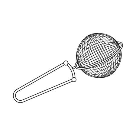Vector illustration of strainer and tea  symbol. Collection of strainer and tool  stock vector illustration. Illustration