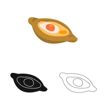 Isolated object of khachapuri and pastry sign. Set of khachapuri and cuisine stock symbol for web. Illustration