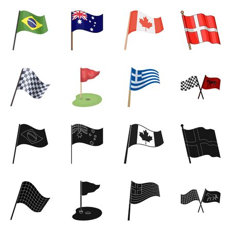 Isolated object of world and flag icon. Collection of world and ribbon vector icon for stock. Standard-Bild - 124565809
