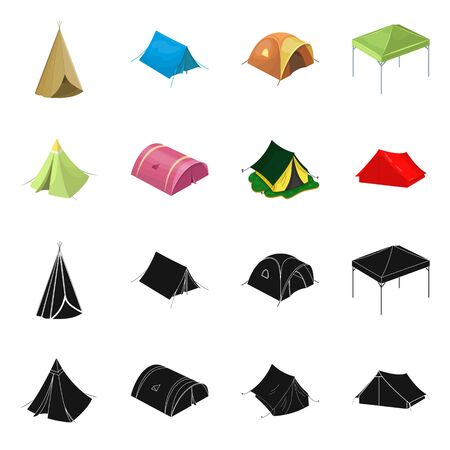 Isolated object of tent  and camp icon. Set of tent  and forest stock vector illustration.