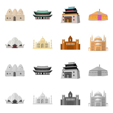 Isolated object of town  and chinatown symbol. Collection of town  and asian  stock vector illustration.