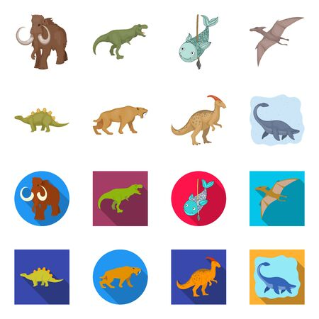 Vector illustration of animal and character icon. Collection of animal and ancient  stock symbol for web. Ilustração
