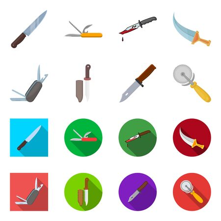 Isolated object of knife and cut symbol. Set of knife and flat stock vector illustration.