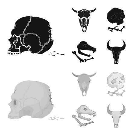 Isolated object of skeleton and character icon. Collection of skeleton and halloween vector icon for stock.