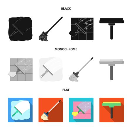 Vector illustration of mop and broom  icon. Set of mop and cleaner vector icon for stock.