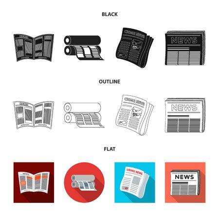 Vector illustration of daily and folded symbol. Collection of daily and paper stock vector illustration. Иллюстрация