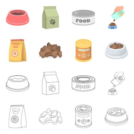 Isolated object of food  and tin logo. Set of food  and bottle vector icon for stock. Stock Illustratie