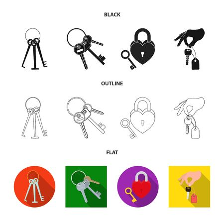 Isolated object of key  and protection symbol. Collection of key  and security stock symbol for web.