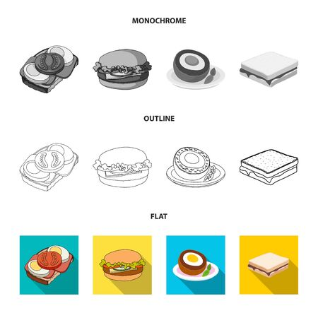 Isolated object of sandwich and wrap sign. Collection of sandwich and lunch stock vector illustration.