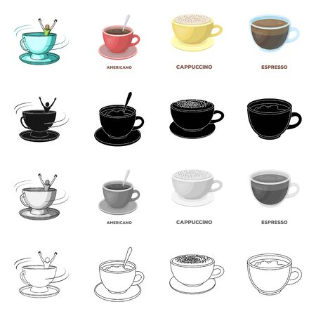 Vector illustration of cup and coffe logo. Set of cup and top stock symbol for web.