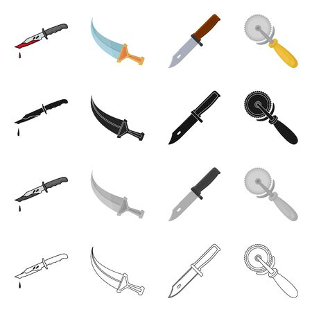Vector design of knife and cut logo. Set of knife and flat stock vector illustration.