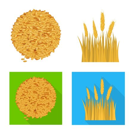 Isolated object of agriculture and farming logo. Set of agriculture and plant  stock symbol for web.