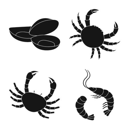Vector design of market and marine icon. Collection of market and sea stock vector illustration. 矢量图片