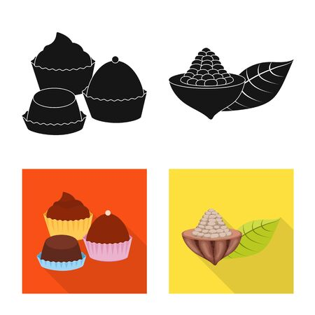 Isolated object of food and yummy icon. Set of food and brown   stock symbol for web.
