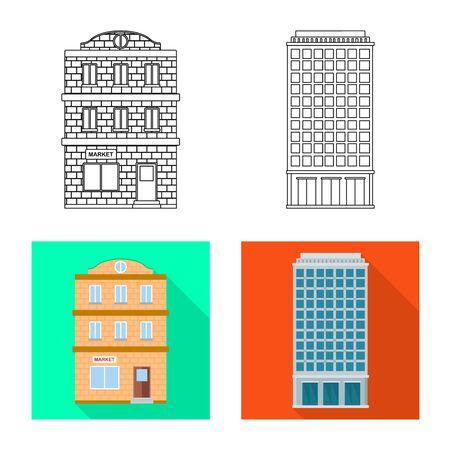 Vector illustration of municipal and center sign. Set of municipal and estate   stock vector illustration. Illustration