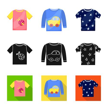 Isolated object of fashion and garment icon. Set of fashion and cotton stock symbol for web. Illustration