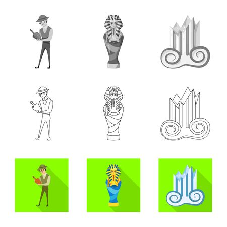 Isolated object of story and items icon. Collection of story and attributes  stock vector illustration.