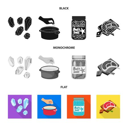 Vector design of cooking and sea sign. Set of cooking and baking   stock symbol for web.