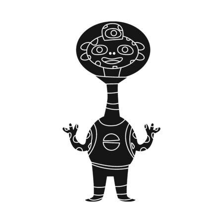 Vector illustration of alien and astronaut icon. Set of alien and cute stock vector illustration.