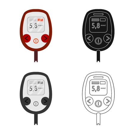 Vector illustration of glucometer  and measuring logo. Set of glucometer  and chronic vector icon for stock.