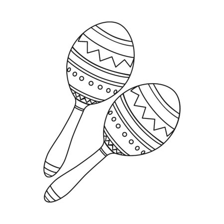 Vector illustration of maraca and instrument  icon. Set of maraca and mexican    stock symbol for web.