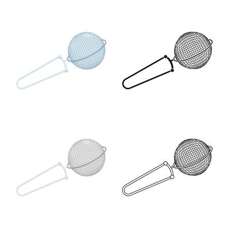 Vector illustration of strainer and tea  symbol. Collection of strainer and tool  stock symbol for web.