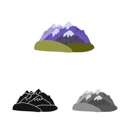 Vector design of mountain  and rocky  sign. Collection of mountain  and peak  stock vector illustration.