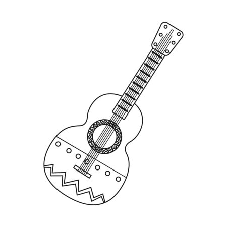 Vector design of guitar  and ornament  sign. Collection of guitar  and folk vector icon for stock. Illustration