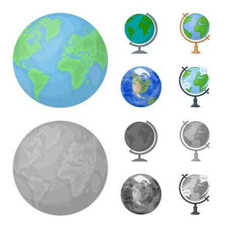 Vector design of globe and world sign. Set of globe and earth vector icon for stock. Ilustracja