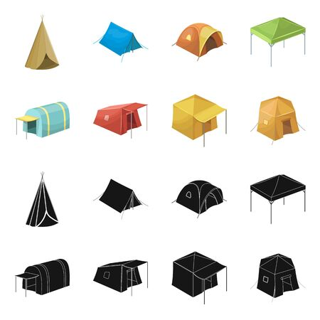 Isolated object of tent  and camp logo. Collection of tent  and forest vector icon for stock.