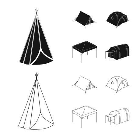 Vector design of tent  and camp logo. Set of tent  and forest stock symbol for web.