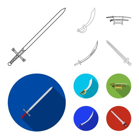 Vector illustration of sword and blade symbol. Set of sword and game stock vector illustration.