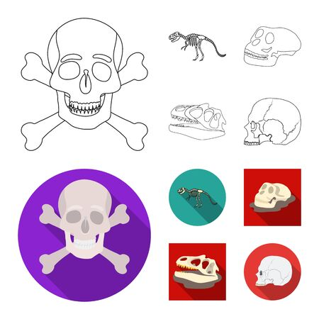 Vector illustration of skeleton and character logo. Set of skeleton and halloween stock symbol for web.