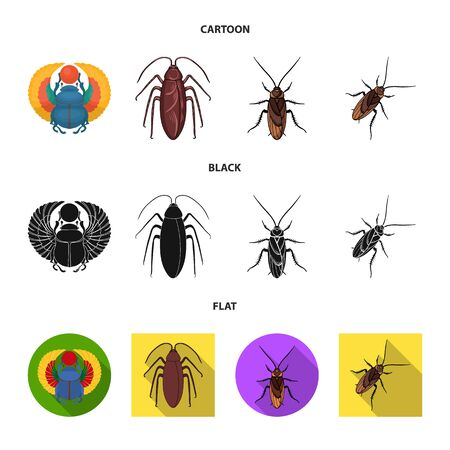 Vector illustration of insect and beetle logo. Set of insect and halloween vector icon for stock. Çizim