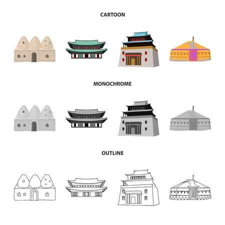 Vector design of town  and chinatown symbol. Collection of town  and asian  vector icon for stock. 일러스트