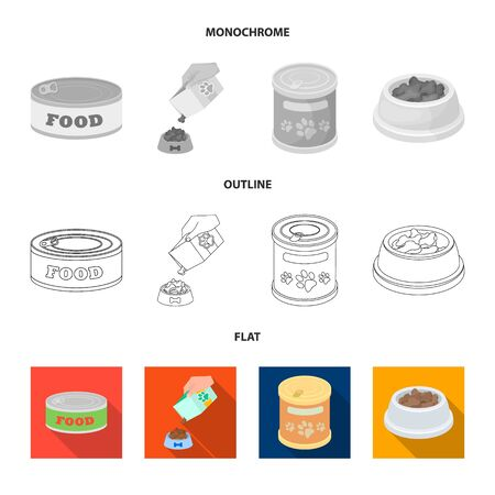 Vector illustration of food  and tin logo. Set of food  and bottle stock symbol for web.