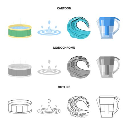 Vector illustration of water and drop symbol. Set of water and splash vector icon for stock. Иллюстрация
